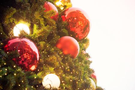 Colorful balls on Christmas tree. Stock Photo