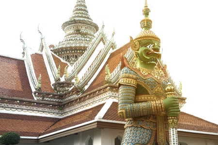Day time of Thai Giant guardian at front entrance of the -Ordination Hall- in Wat Arun Ratchawararam temple ,Bangkok,Thailand.