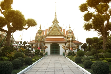 Front entrance of the -Ordination Hall- in Wat Arun Ratchawararam temple ,Bangkok,Thailand. Stock Photo