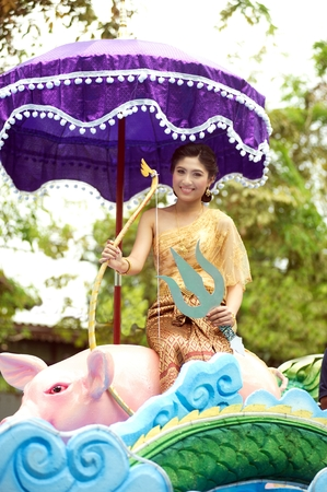 BANGKOK, THAILAND-APRIL 12,2015 : Miss Songkran Pageant in Songkran Festival . Participants in a Songkran Festival parade which celebrated as Thai traditional New Year's at Phra Athit road in Bangkok.