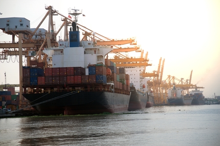 Cargo ship on the port in Thailand.