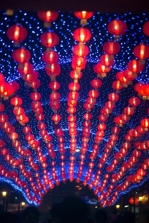 Night scene of red comp lamp lantern Chinese style hanging decorated in Chinese New Year Celebration in Thailand.