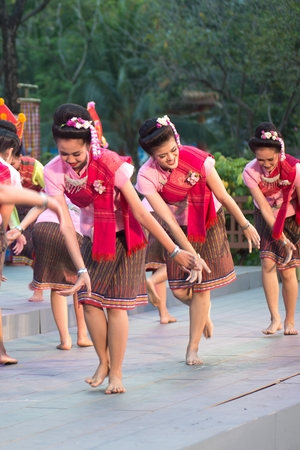 Bangkok Thailand - January 26 , 2019 : Unidentified dancer is dancing a Northeastern traditional Thai dancing in Participants take part in the celebration of Thailand tourism Festival on January 26 ,2019 at Lumpini Park , Bangkok capital city in Thailand.