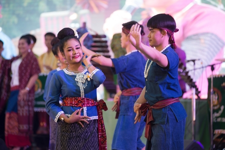 Bangkok Thailand - January 24 , 2019 : Unidentified dancer is dancing a Northeastern traditional Thai dancing in Participants take part in the celebration of Thailand tourism Festival on January 24 ,2019 at Lumpini Park , Bangkok capital city in Thailand.