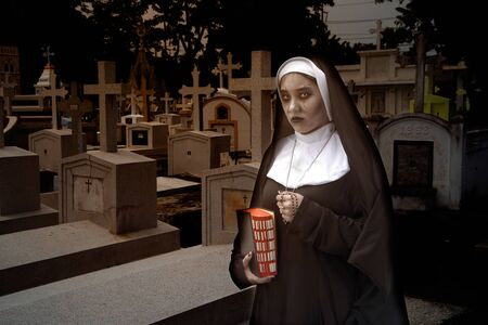 Portrait of Rendering of a ghost nun or demon in the dark mysterious at the Churchyard.