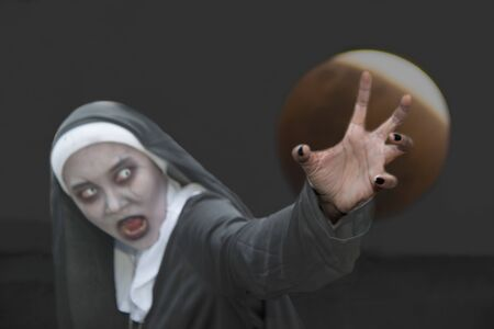 Rendering of a ghost nun or demon in the dark mysterious at the Churchyard.