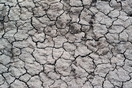 Above view of land during drought. Abstract surface in cracked ground, dry soil. Ecology concept. Cracked earth texture and background. Stok Fotoğraf