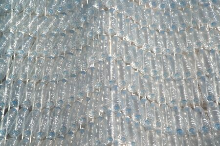 Using plastic bottles to make art Outdoor shows in Thailand. Stock Photo