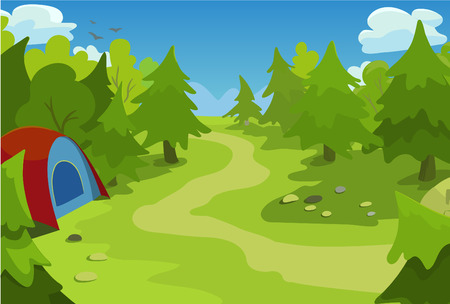 Cartoon stylized vector illustration with a landscape of forest.