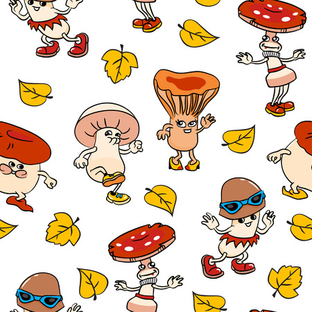 Seamless pattern with cartoon mushrooms and leafs 矢量图像