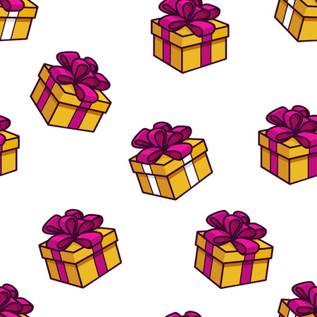 Vector seamless pattern with gifts.