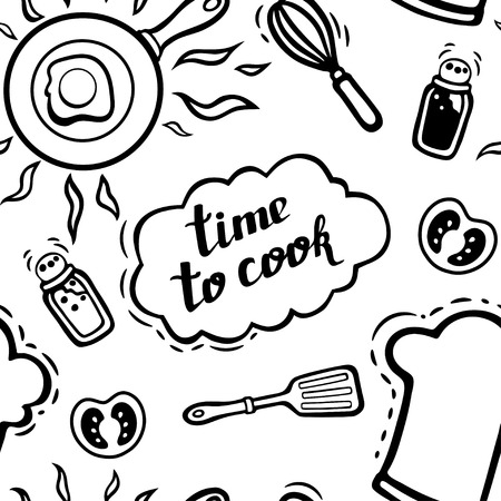 Objects for cooking with lettering seamless background