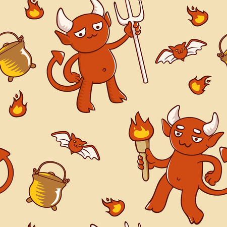 Background for halloween with demons and bats