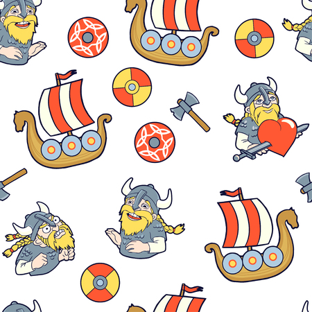 Seamless pattern with vikings, ships, axes and shields.Vikings expresses three emotions: love, anger and laugh.