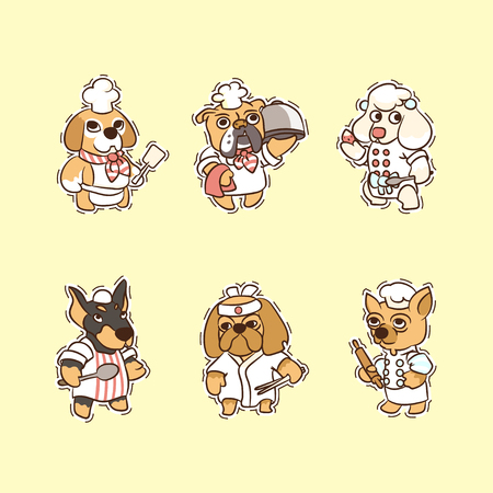 Sticker collection of cartoon dogs whith cooking actions.