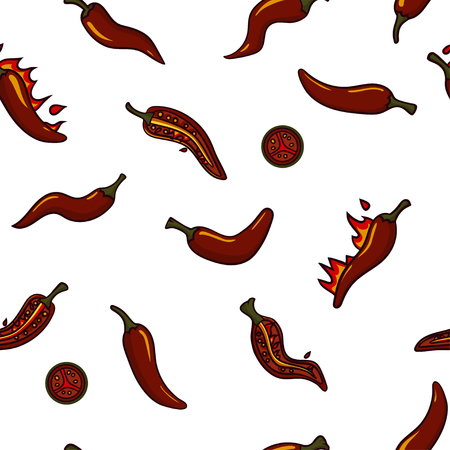Seamless vector pattern with burning chili peppers