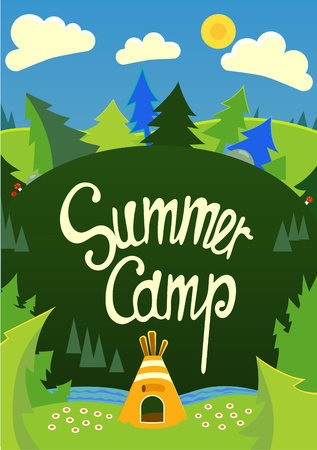Summer Camp poster with tent and nature.Vector illustration with handdrawn text.Useful for banners, posters, postcards.