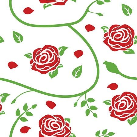 Red roses, stems, petals and green leaves on white background vector seamless pattern.