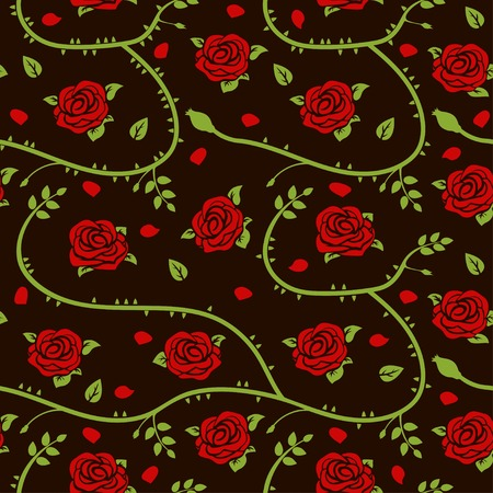 Red roses, stems, petals and green leaves vector seamless pattern.