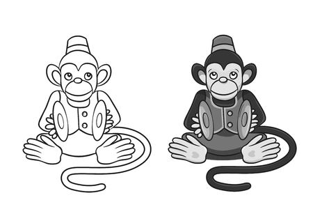 vector illustration of cartoon monkey with cymbals.In two variants: grayscale and only contour. Can be used for coloring books. Ilustração