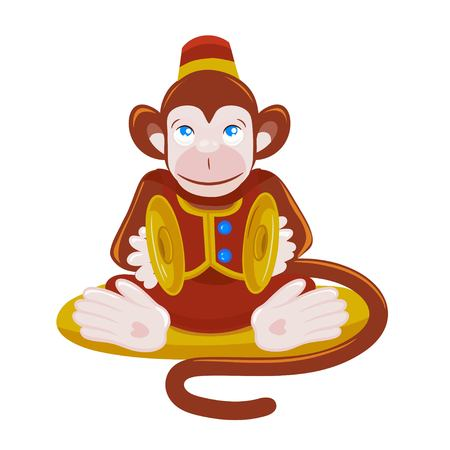 Colored vector illustration of monkey playing percussion hand cymbal sitting on the pillow.