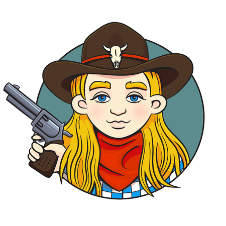 Colored in cartoon style vector illustration with young rodeo girl in cowboy hat and revolver in her hand.Can used for printing on clothes, bahners, posters, web design.