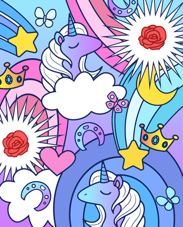Background with unicorns, rainbows, roses, crowns, stars and butterflies. Vector illustration in cartoon style.