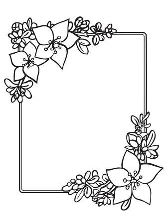 Floral border frame template.Black and white design. 矢量图像