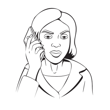 The business woman talking on the phone.Line vector illustration.