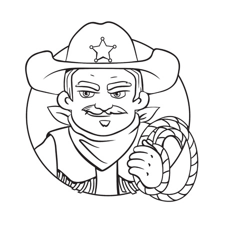 Outline isolated vector round illustration with sheriff in hat and lasso in his hand.Can used for coloring book, printing on clothes, banners, posters, web design. 矢量图像