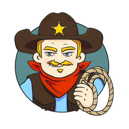 Colored in cartoon style vector illustration with sheriff in hat and lasso in his hand.Can used for printing on clothes, banners, posters, web design.