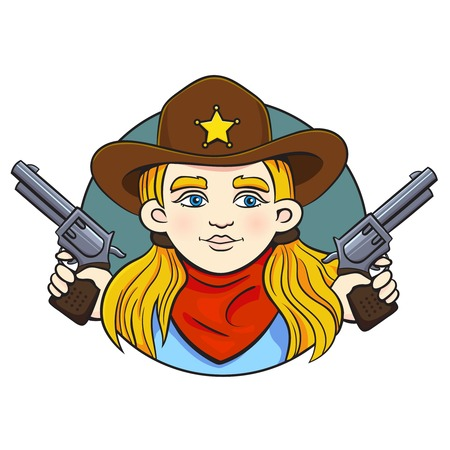 Colored in cartoon style vector illustration with young girl in sheriff hat and two revolvers in her hands.Can used for printing on clothes, banners, posters, web design.