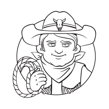 Outline isolated vector round illustration with young cowboy in hat and lasso in his hand.Can used for coloring book, printing on clothes, banners, posters, web design.