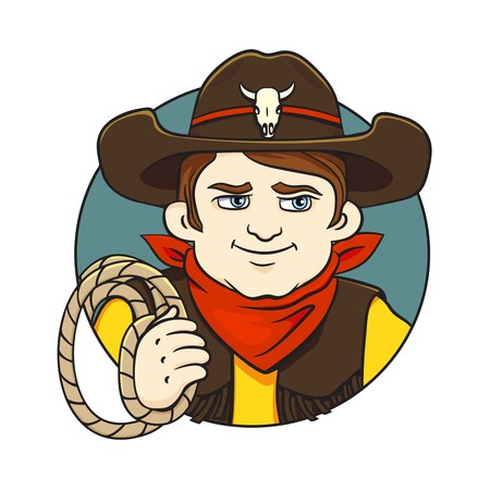 Colored in cartoon style vector illustration with cowboy in hat and lasso in his hand.Can used for printing on clothes, banners, posters, web design.