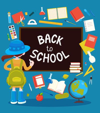 School girl near black chalkboard and school supplies around them.Vector illustration. 矢量图像