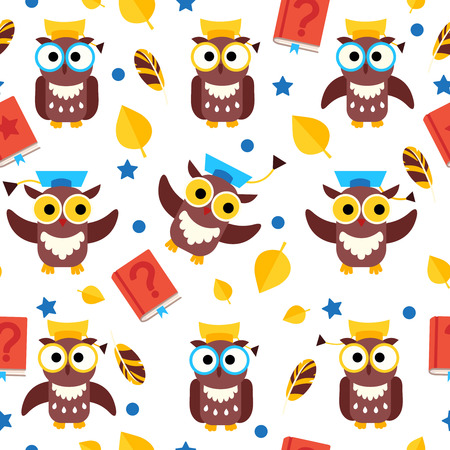 Vector seamless pattern with owls in graduate caps.