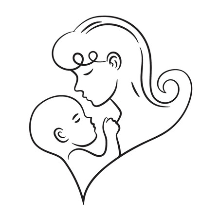 Mother holding child stylized vector symbol.