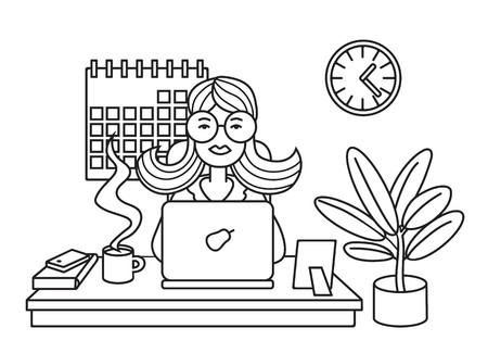 Woman working on laptop at office. Line vector illustration. 矢量图像