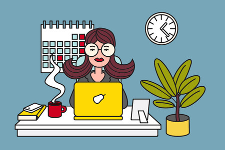Woman working on laptop at office. Colored vector illustration. Ilustração
