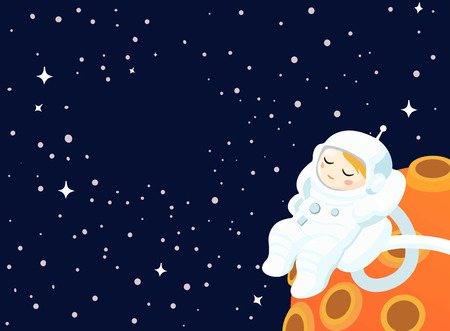 Astronaut floating in the background of an Outer Space and some Planet. Vector illustration.