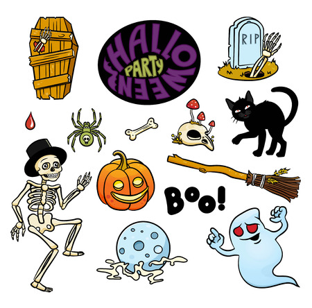 Set of Halloween characters and text