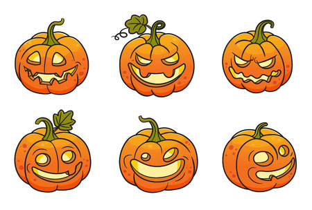 Set of halloween pumpkins.Vector colored illustration.Can used for stickers, printing on clothes, banners, posters, web design. 矢量图像