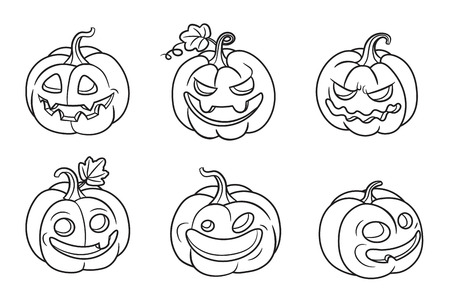 Set of halloween pumpkins. Vector isolated illustration. Can used for coloring book, printing on clothes, banners, posters, web design. 矢量图像
