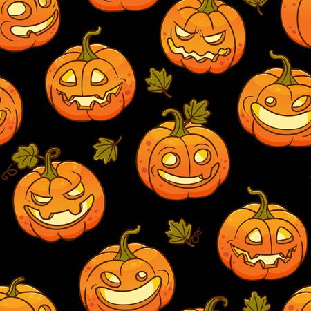 Seamless pattern with Halloween pumpkins.Vector illustration. 矢量图像