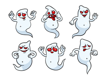 Set of halloween ghosts. Can be used for clothing, banners, posters, web design.