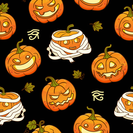 Seamless pattern with Stylized Mummy pumpkins for Halloween .Vector illustration.