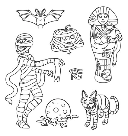 Cartoon Halloween characters set of images: Mummy, bat, moon, cat, pumpkin and sarcophagus. Vector isolated illustration. Can be used for coloring book, banners, posters, web design.