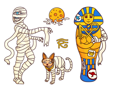 Cartoon Halloween characters set of images: Mummy, moon, sphinx cat, and sarcophagus. Vector isolated illustration. Can be used for stickers, banners, posters, web design.