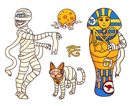 Dessin animé Halloween personnages ensemble d'images: momie, lune, chat sphinx et sarcophage. Illustration vectorielle isolée. Peut être utilisé pour des autocollants, des bannières, des affiches, la conception de sites Web. Vecteurs
