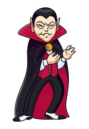 Personaje de vampiro para Halloween. Ilustración de vector de estilo de dibujos animados. Ilustración de vector